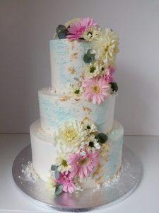 Modro růžový svatební dort